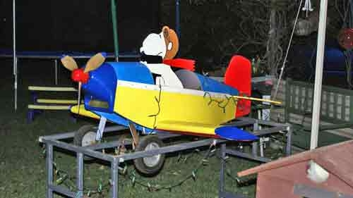 Snoopy showed off our recently painted pedal car